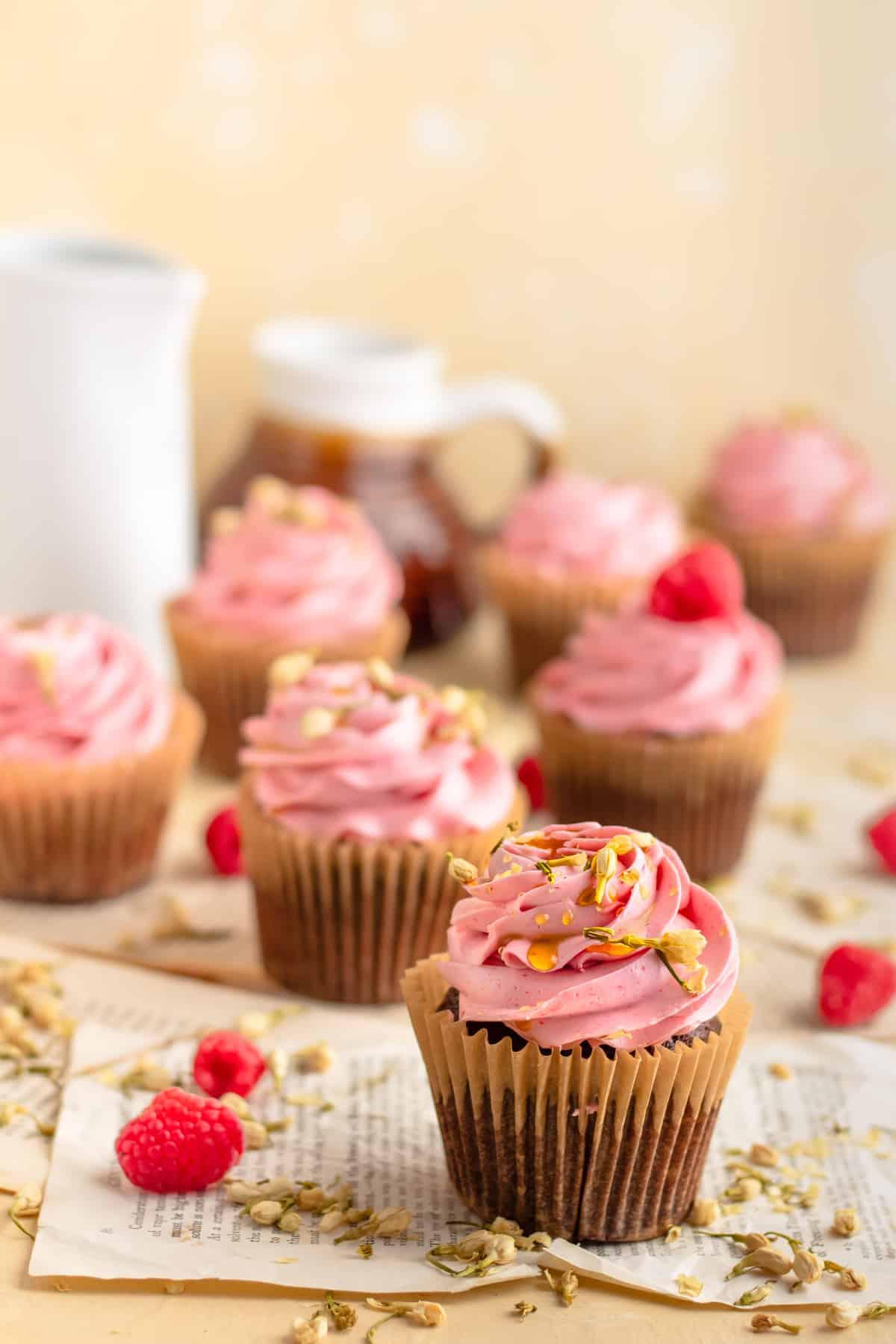 Chocolate Honey and Raspberry Cupcakes