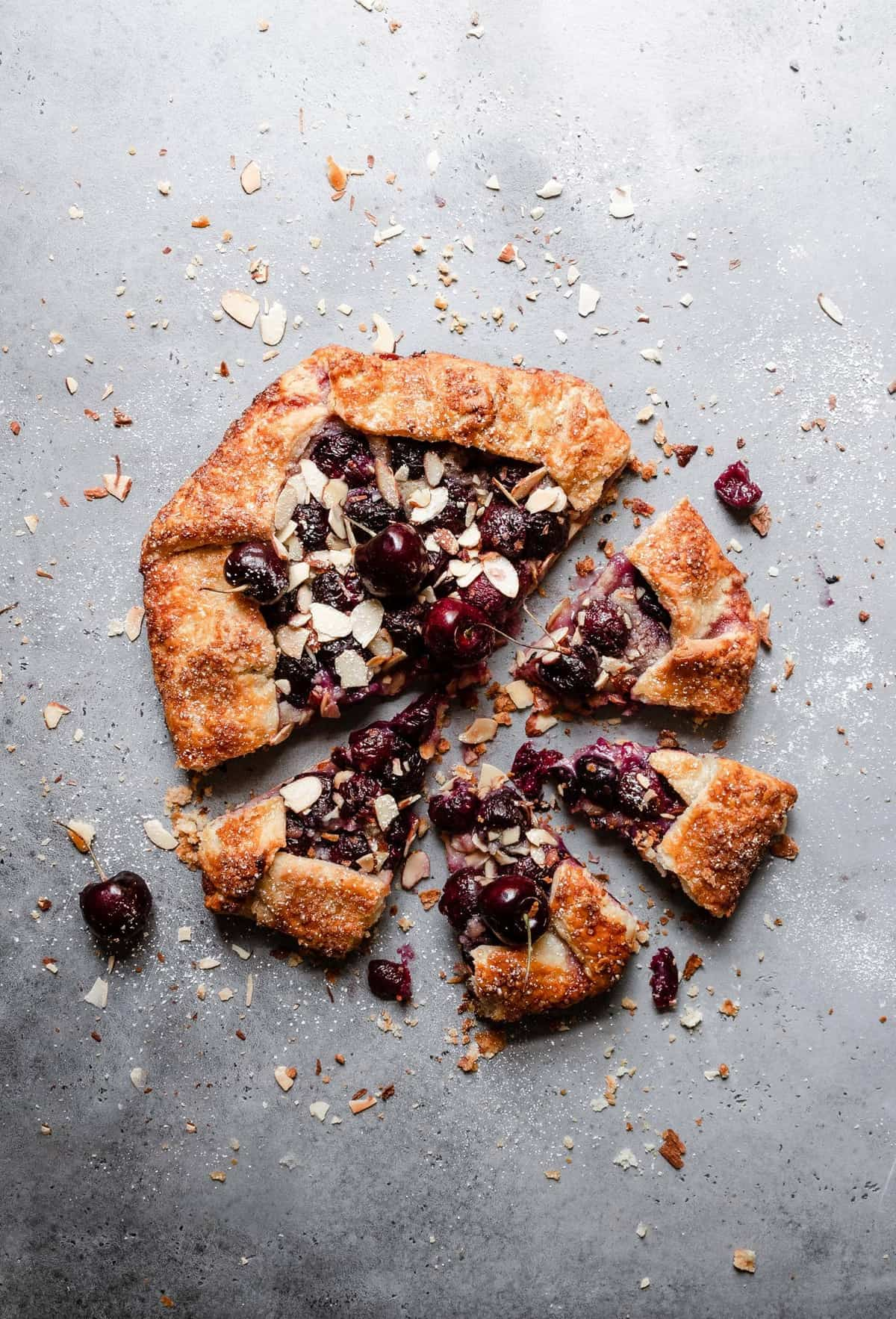Cherry Galette layered with almond paste and topped with sweet Cheery filling