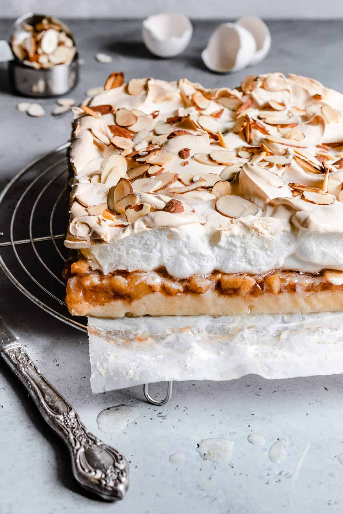 Apple bars topped with meringue.