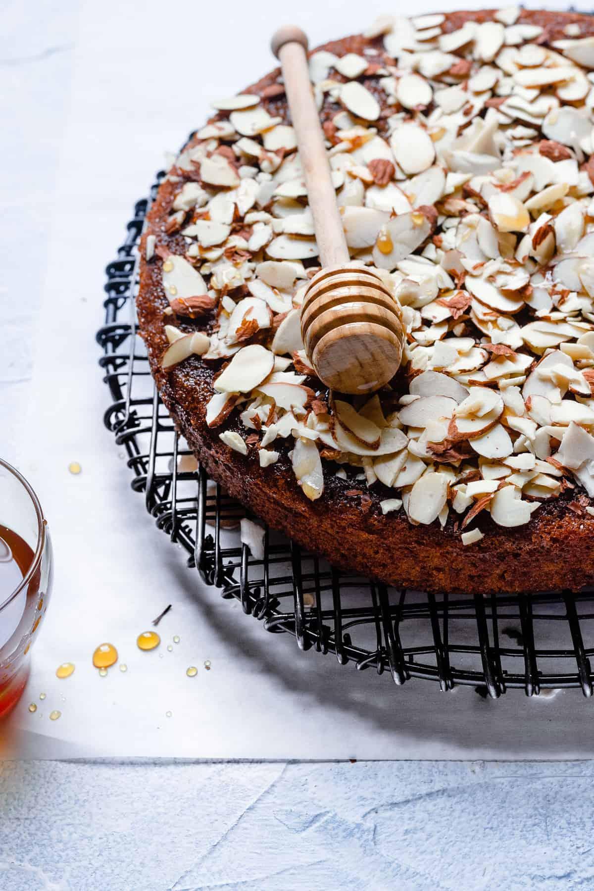 Traditional Jewish honey cake with almonds.
