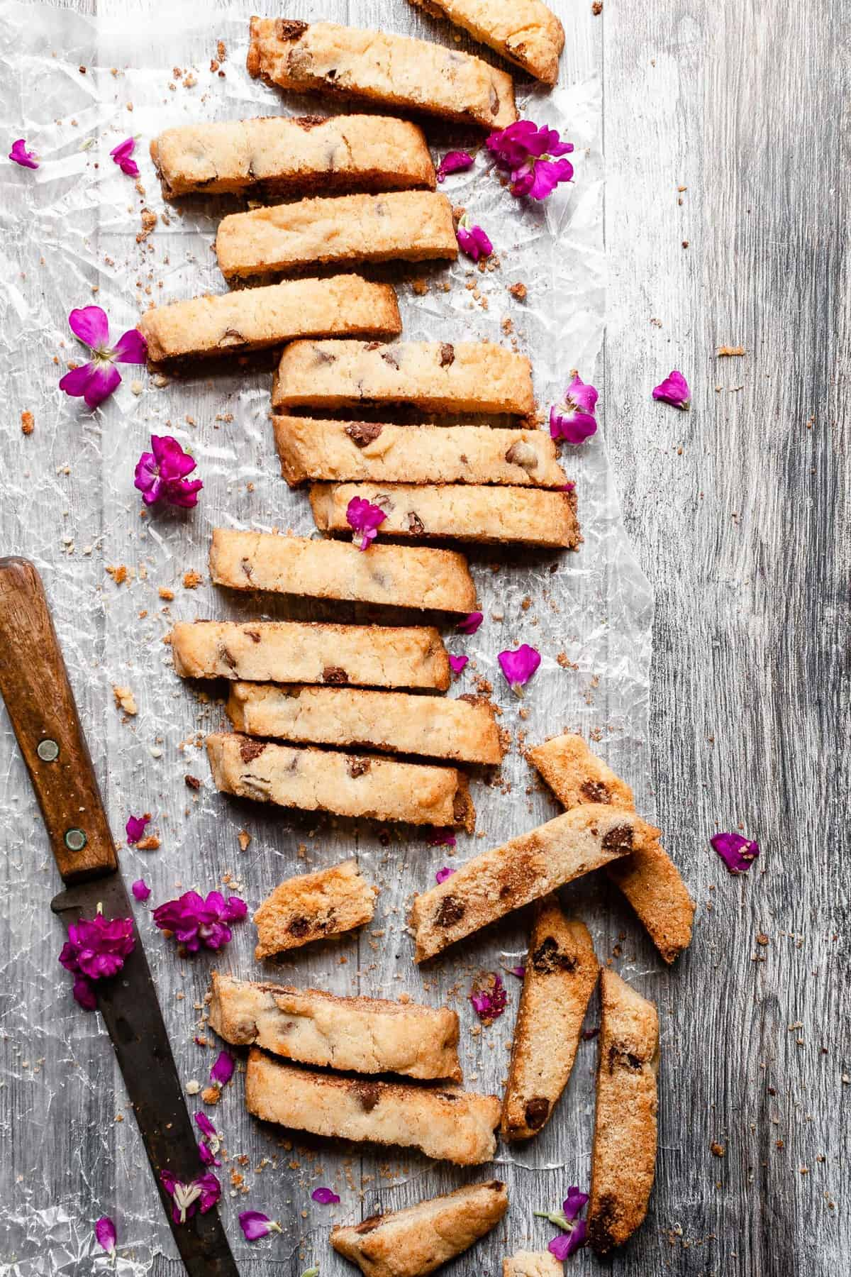 Almond or chocolate chips mandel bread recipe.