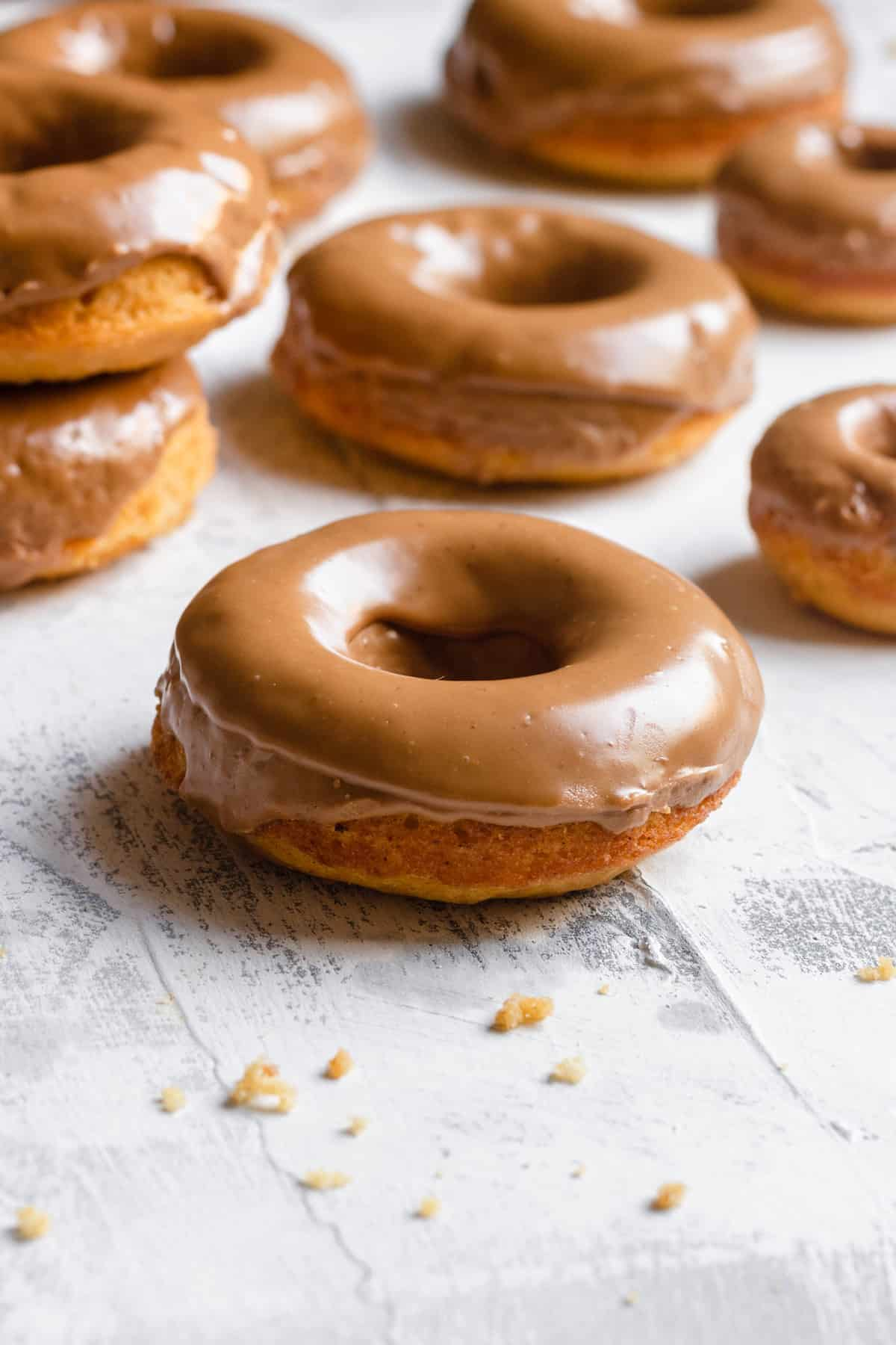 Baked pumpkin donuts iced with cookie butter
