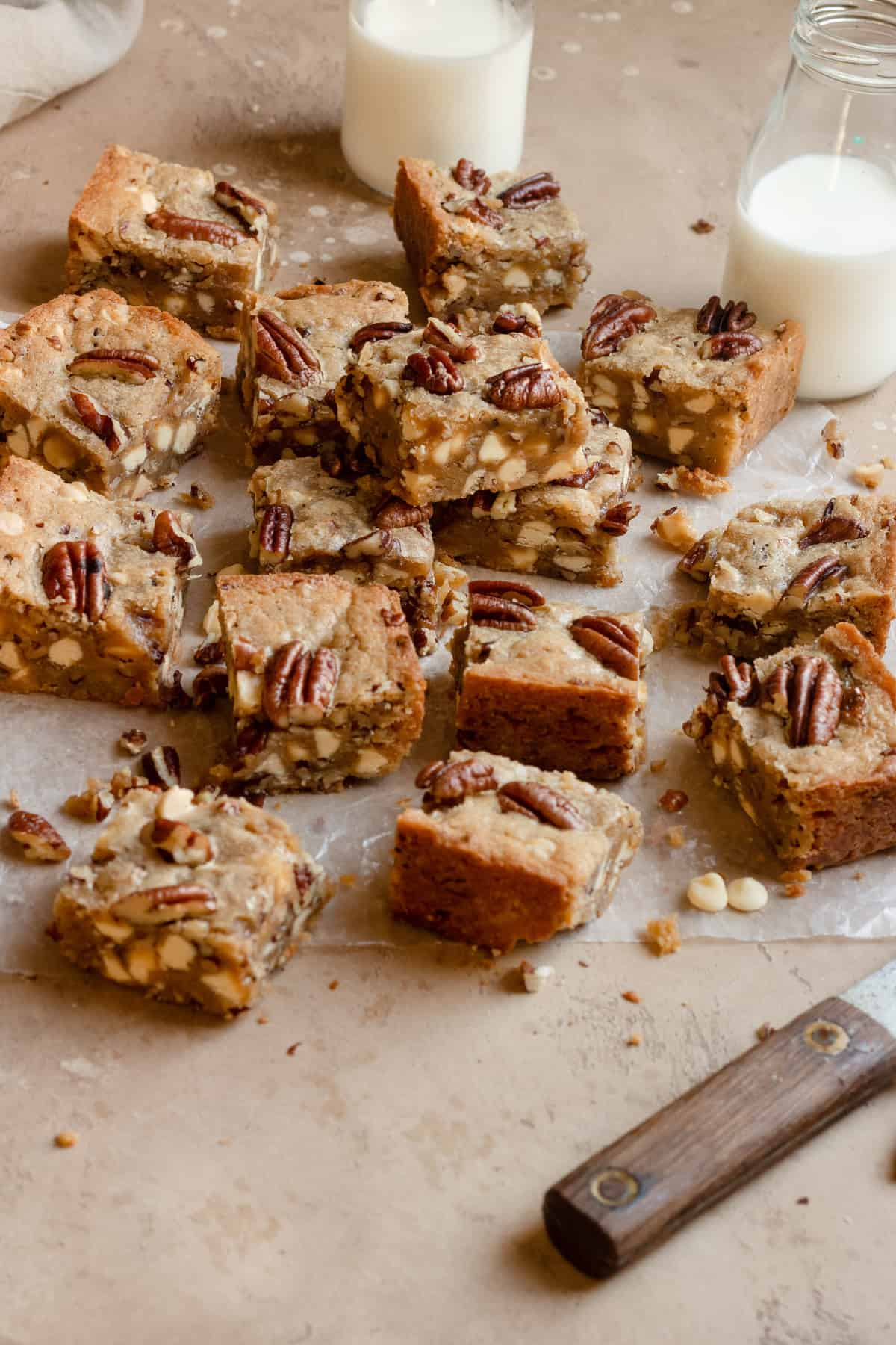 Easy white chocolate toasted pecans  chewy blondies recipe