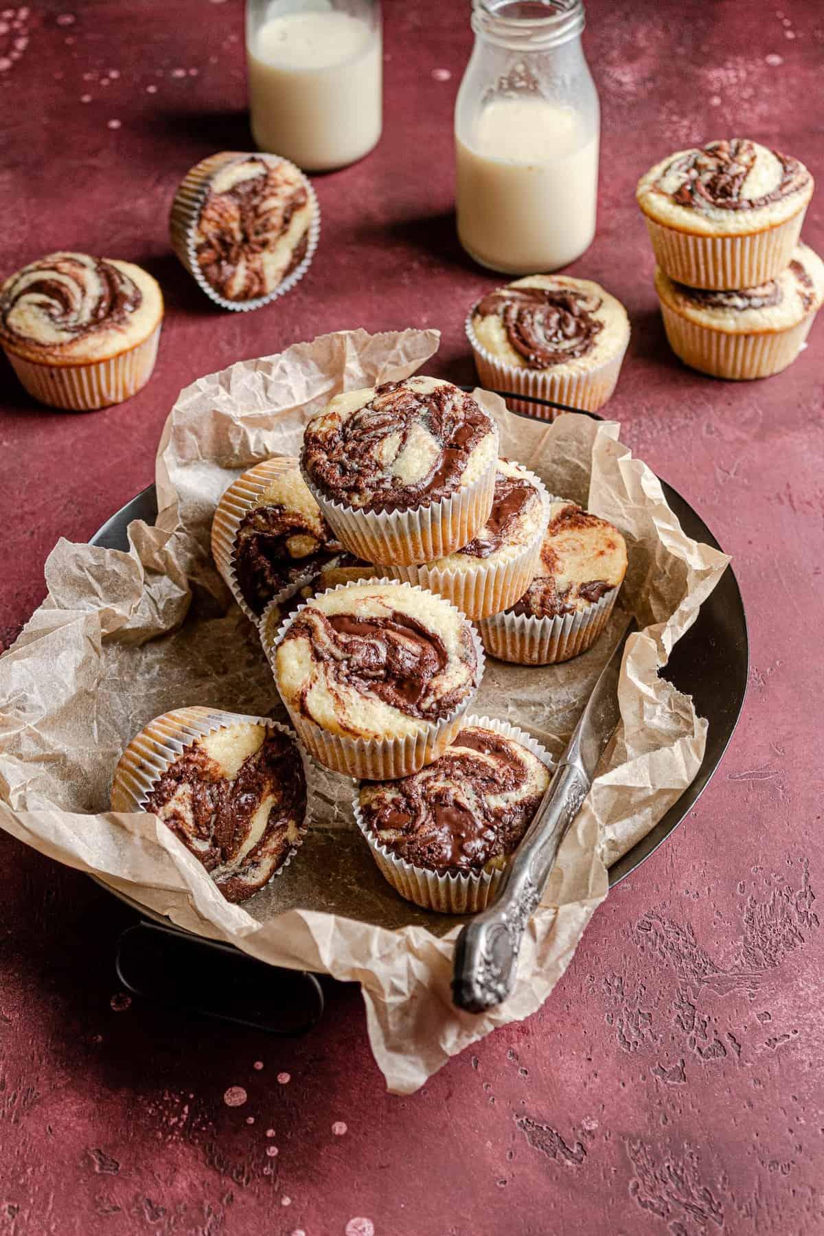 Eggnog muffins with chocolate filling recipe