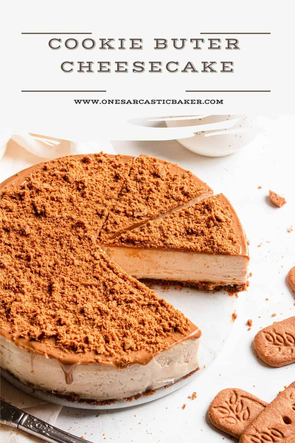 Silky smooth, creamy and ridiculously delicious Cookie Butter Cheesecake recipe. This is an easy recipe using speculoos cookies is a great spring and easter recipe.  |#cheesecake #cheesecakerecipe #easycheesecakerecipe #cookiebuttercheesecake #cookiebutterdessert #speculooscookies #easterrecipe #springrecipe|