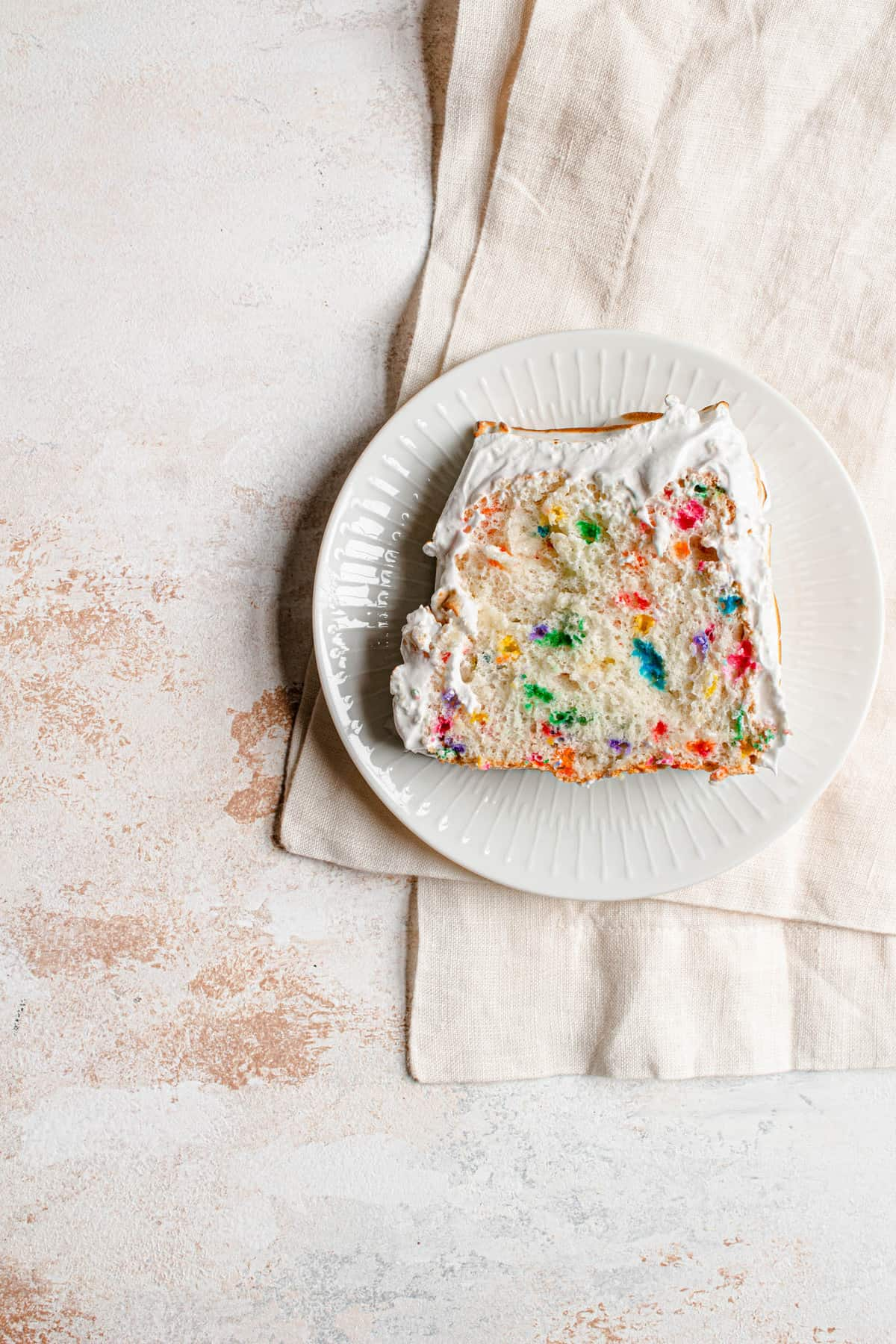 Funfetti angel food cake with marshmallow frosting
